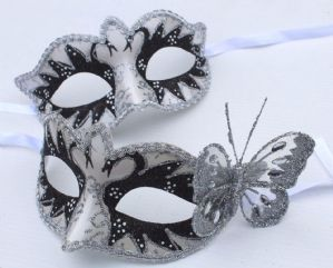 Silver and Black Masquerade Mask with Butterfly - His and Hers Masquerade Masks | Masks and Tiaras